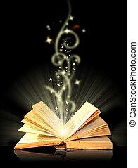 black , opengeslagen boek, magisch