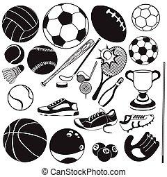 black , vector, sportende, bal, iconen