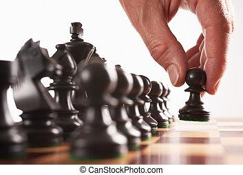 black , verhuizen, speler, schaakspel, eerst