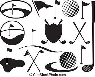 black , witte , golf, iconen