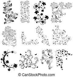 black , witte , set, hoek, bloemen