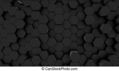 black , zes, kam, bovenzijde, 3d, bij, ontwerp, prisma, zeshoeken, aanzicht, technology., achtergrond., concept, grid., beweging, minimalistic, animation., futuristisch