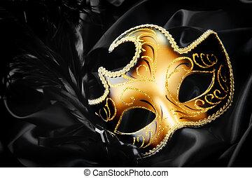 black , zijde, masker, achtergrond, carnaval