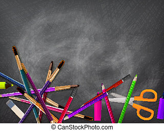 blackboard., school, eps10, plus, toebehoren