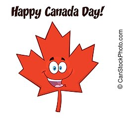 blad, canadees, karakter, vrolijke , esdoorn, mascotte, spotprent, rood