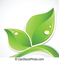 blad, illustratie, droplets., water, vector, groene, kunst