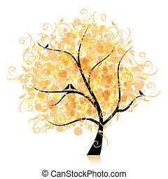 blad, kunst, boompje, mooi, gouden