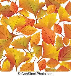 blad, natuur, bladeren, pattern., seamless, herfst, achtergrond., herfst, floral