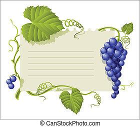 blad, ouderwetse , frame, groep, groene druiven
