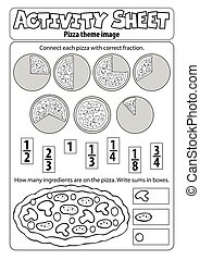 blad, pizza, activiteit, thema, 1