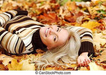 blad, vrouw, portret, herfst