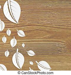 bladeren, abstract, houten, poster