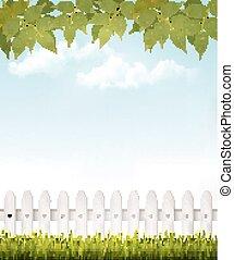 bladeren, achtergrond, french., vector., groene, natuur, witte