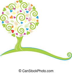 bladeren, boompje, handen
