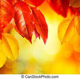 bladeren, fall., herfst