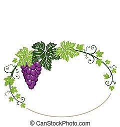 bladeren, frame, witte druiven