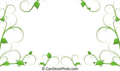 bladeren, pattern., groene, groeiende