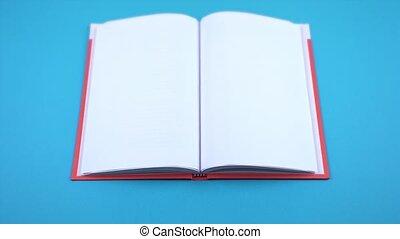blauw boek, pagina's, lege, open, achtergrond