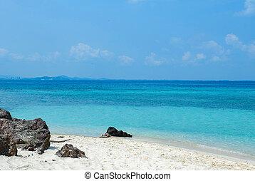 blauw eiland, golf, zee, rots, strand, aanzicht
