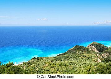 blauw eiland, helling, groene, zee, greec, lefkada, enorm