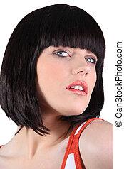 blauw-eyed, close-up, brunette, franje, betoverend, verticaal