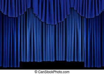 blauw gordijn, helder, draperen, achtergrond