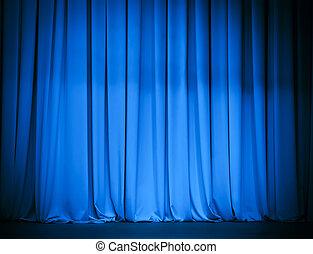 blauw gordijn, theater