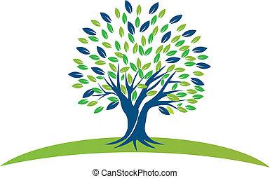 blauw groen, boompje, vellen, logo