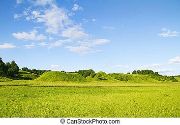 blauw groen, hemel, heuvel, bewolkt