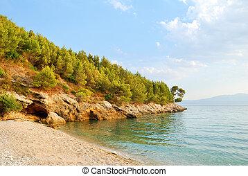 blauw groen, heuvel, zee, strand, zanderig