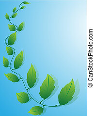 blauw loof, groene achtergrond
