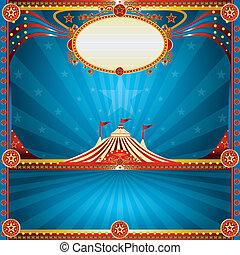 blauw vierkant, circus, kaart