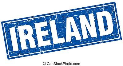 blauw vierkant, grunge, postzegel, ouderwetse , vrijstaand, ierland