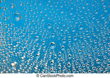 blauw water, achtergrond, droplets