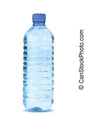 blauw water, achtergrond., vector, fles, witte