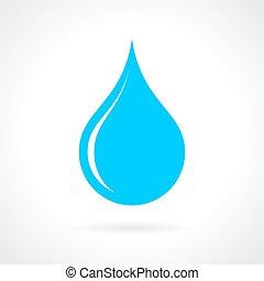 blauw water, druppel, pictogram