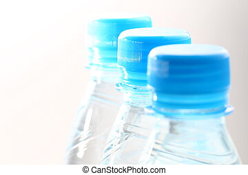 blauw water, fles