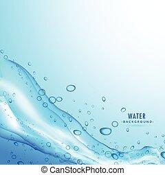 blauw water, gespetter, achtergrond, vloeistof