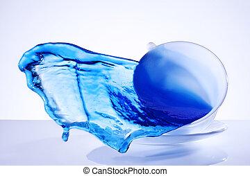 blauw water, gespetter, kop