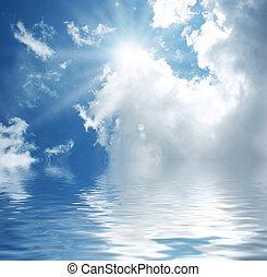 blauw water, hemel