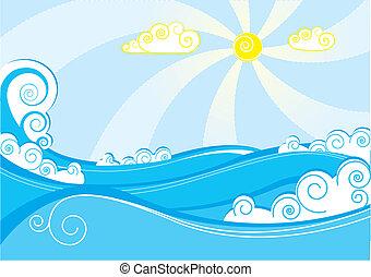 blauwe , abstract, illustratie, vector, zee, witte , waves.