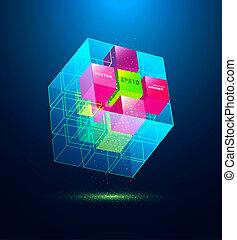 blauwe , abstract, kubus