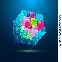 blauwe , abstract, kubus, vector