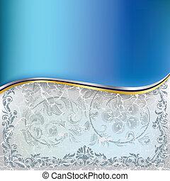 blauwe , abstract, ornament, achtergrond, floral, gebarsten, witte