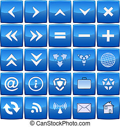 blauwe , abstract, vector, set, pictogram