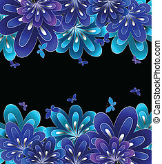 blauwe , achtergrond., bloem, black , vector