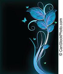 blauwe , achtergrond., vector, black , floral