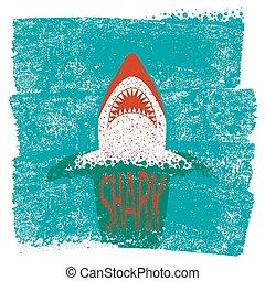 blauwe achtergrond, zee, golven, vector, jaws., haai
