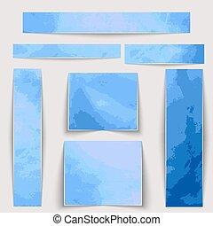 blauwe , anders, vlekken, set., textuur, watercolor, sizes., textured, banieren