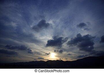blauwe , avond, vibrant, hemel, kleuren, dramatisch, ondergaande zon , rood